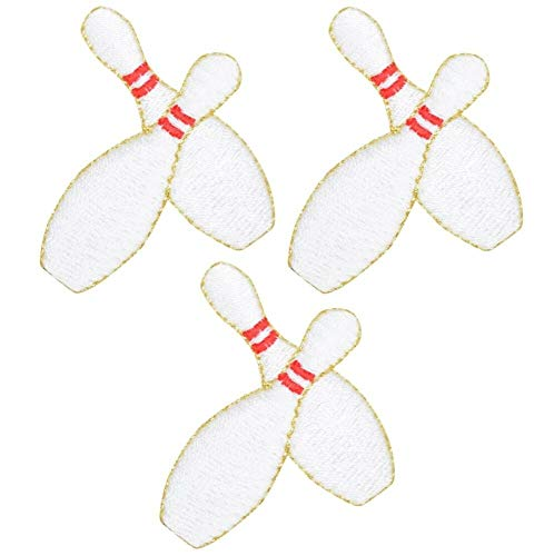 "Embroidered Iron ON Patch for Man and Woman Bowling Pins Applique Patch 1-7/8"" (3-Pack, Iron on)"