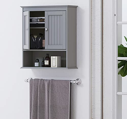 Spirich Home Bathroom Cabinet Wall Mounted with Doors, Wood Hanging Cabinet, Wall Cabinets with Doors and Shelves Over The Toilet, Bathroom Wall Cabinet Gray