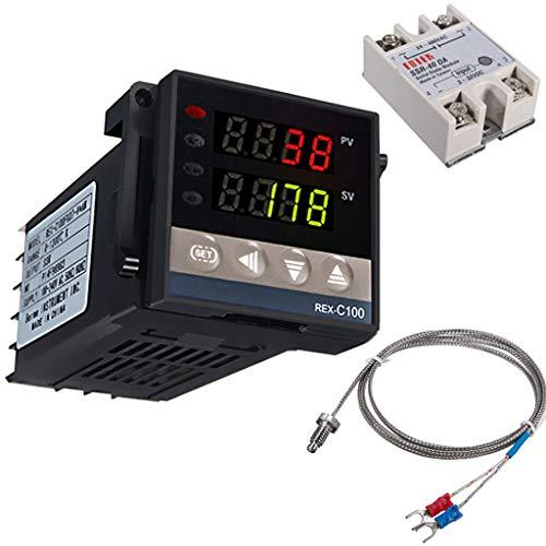 Digital Temperaturregler Kit 0-1300 ℃ REX-C100 LED PID-Temperaturregle Thermostat mit K-Typ Thermoelement Sensoreingangsrelais SSR-Ausgang