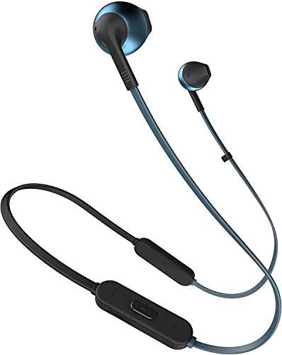 JBL Tune 205BT - Auriculares Inalámbricos intraurales con micrófono y mando a distancia con 3 botones, función de manos libres y diseño ergonómico con cable sin enredos, azul