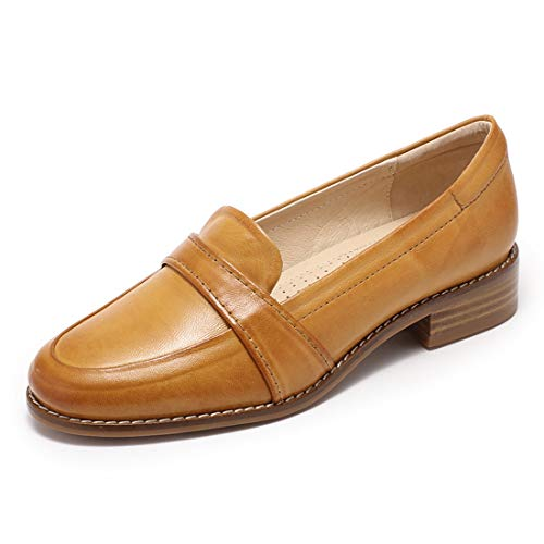 Mona flying Women's Leather Penny Loafers Slip On Ladies Flat Daily Casual Shoes