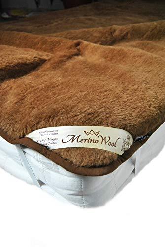 Preisvergleich Produktbild 100% australischer Merinowolle Wende Matratzenauflage Camel Wolle Baby unter Decke,  Kuscheldecke Wärmeunterbett 140 x 70 cm woolmarked