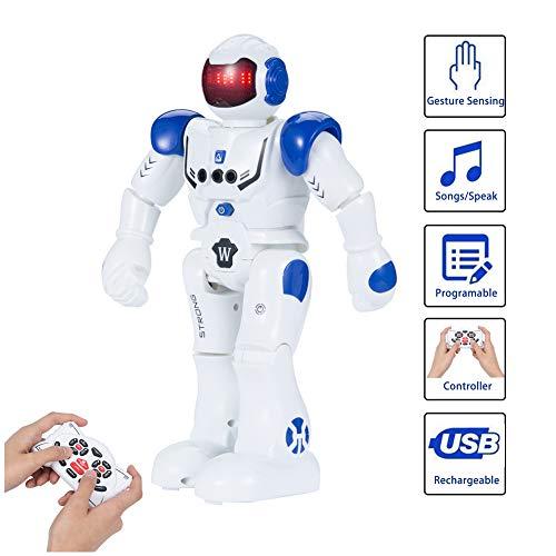 SUNNOW Robot Juguete Programación Inteligente Gestos Control Robots Recargable Multifuncionales Robot de Radiocontrol, Juguete Ideal para Niños (Azul)