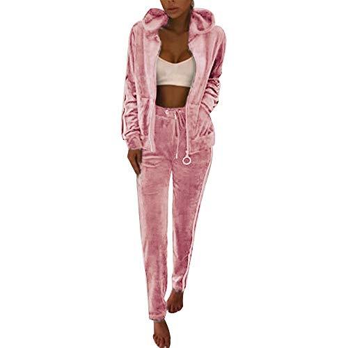 Fantasy Closet Frauen Damen Mode Trainingsanzug Streifen Zweiteilige Jogginganzug Lange Ärmel Zipper Top Lange Hose (Pink,S)