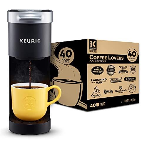 Keurig K-Mini Coffee Maker, Black with Coffee Lovers' 40 Count Variety Pack Coffee Pods