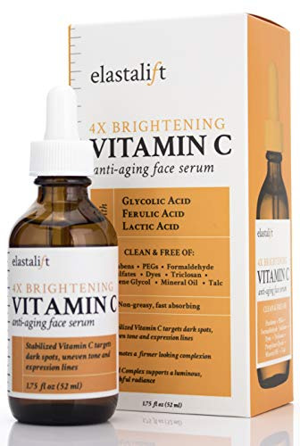 Elastalift Vitamin C Serum for Age Spots, Wrinkles, Expression Lines. Anti-Aging Serum w/Vitamin C & Hyaluronic Acid brightens skin & helps promote a healthier skin complexion (1.75 Fl Oz)