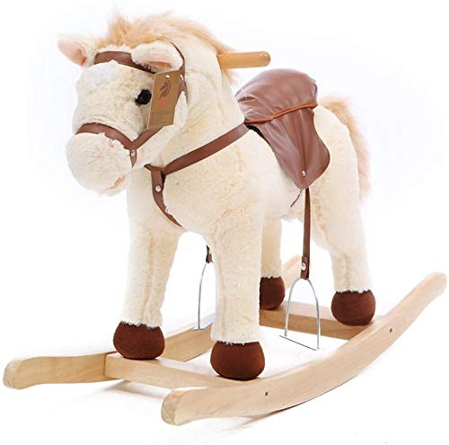 XWL Rockers Ride Rockers Ride-ons Rocking Horse Wooden For 6-48 Months Baby Boys And Girls Cute Plush Animal Chair Toddler Chair Kid Rocker Seat Rocker Toy Music Puzzle Birthday Gift,D (Color : #2)