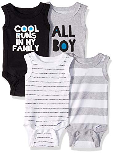 Gerber Baby Boys 4-Pack Sleeveless Onesies Bodysuit, Cool, 6-9 Months