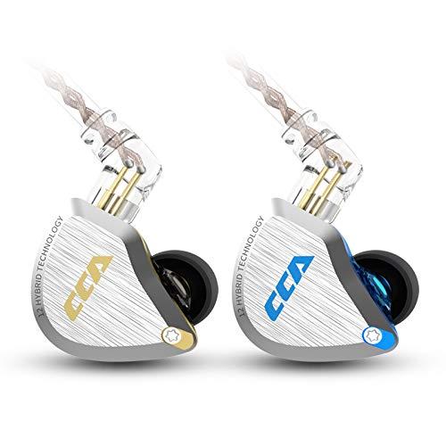 CCA C12 5BA+1DD HIFIハイブリッド型イヤホン 酸化処理で亜鉛合金フェイスプレート 肌に無害な樹脂 金メッキ3.5mmプラグと金メッキ0.75mm2pinコネクタ 重低音 リケーブル 音楽家 オーディオマニア用 (NO Microphone