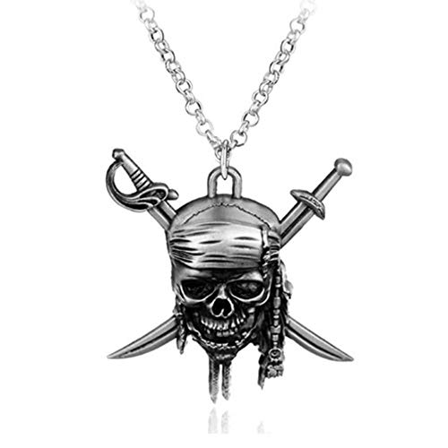 LYXin Moda Vintage Charm Pirati dei Caraibi Collana Teschio Ciondolo Collana Gioielli Uomo Donna Regali