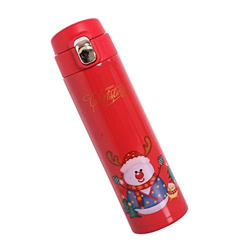 Garrafa de água de aço inoxidável isolada da PretyzOOM, caneca térmica para viagem, garrafa térmica para esportes, garrafa de água, presente de Ano Novo para crianças, mulheres, homens, 450 ml, estilo rena vermelha