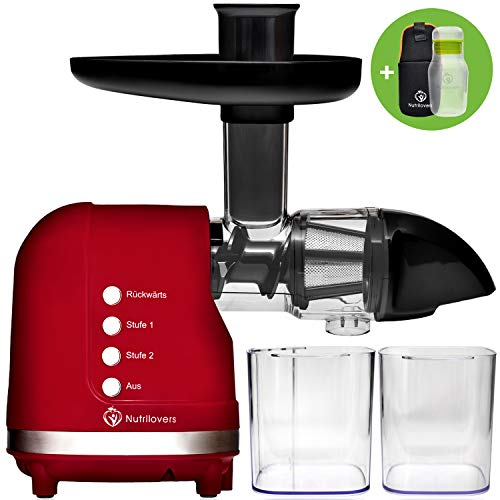 **NEU** Nutrilovers MINI-PRESS Slow Juicer für Obst & Gemüse Säfte - Entsafter elektrisch | BPA-Frei | Geringe Drehzahl nur 60 U/min | Glas-Trinkflasche & Reinigungsbürste