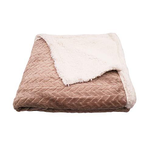 Manta de Doble Cara de Tela Sherpa Y Microfibra Efecto de Patrón de Espiga de Trigo, Manta para Cama Y Sofá Calentito y Suave (Beige, 160 x 220 cm)