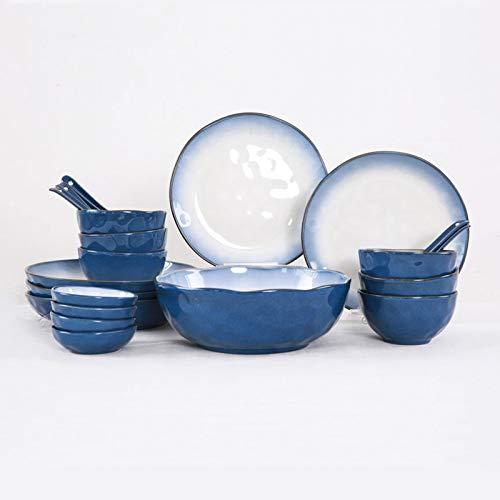 Platos de comida Conjunto de vajillas de cocina de 46 piezas, platos platos platos, servicio para 10, placa de cena de cerámica duraderas, platos y tazones redondos para el hogar. Platos de cena peque