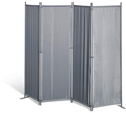GRASEKAMP Qualität seit 1972 Paravent 4tlg Raumteiler Trennwand Sichtschutz Grau