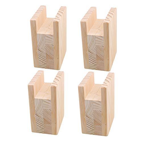 BQLZR 10 x 7 x 13,5 cm de madera, elevador, elevador, muebles, para patas de ranura de 4 cm hasta 10 cm, paquete de 4