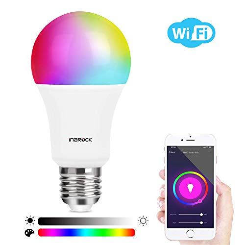 InaRock Smart LED Bulb E26 WiFi Light Bulb,Color Bulb,Multicolor RGBW Changing Light,Dimmable Light,Smartphone App Controlled,Voice Control Bulb Work with Smart Speaker,Google Home,IFTTT(Without Hub)