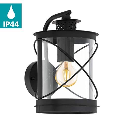 EGLO Außen-Wandlampe Hilburn, 1 flammige Außenleuchte, Wandleuchte aus verzinktem Stahl und Kunststoff, Farbe: Schwarz, Fassung: E27, IP44