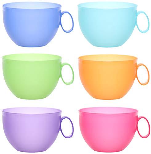 idea-station NEO Kunststoff-Tassen 6 Stück, 500 ml, bunt, mehrweg, bruchsicher, Griff, Henkel, Set, XXL-Tassen, Kaffee-Becher, Kaffee-Tasse, Tee-Tasse, Camping-Geschirr, Camping-Tasse