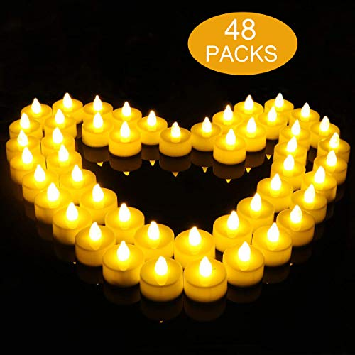 flintronic 48 Velas Led Pequeñas, Velas Led de Té Velas Eléctricas con Baterías para San Valentín, Cumpleaños, Fiestas, Navidad, Festivales, Bodas Decoración, Blanco Cálido