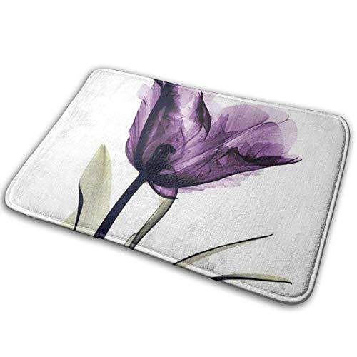 wteqofy Bath Mat Elegant Tulip Purple Flower Memory Foam Bath Mats Non Slip Soft Absorbent Bath Rugs Rubber Back Runner Mat for Kitchen Bathroom Floors 15.7' X 23.5', White