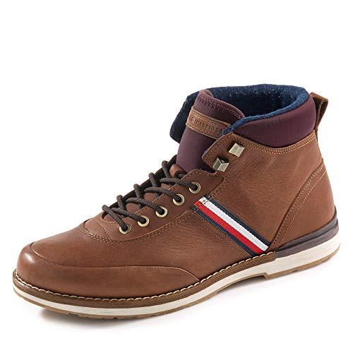 Tommy Hilfiger Herren Outdoor Corporate Leather Boot Klassische Stiefel, Braun (Winter Cognac Gvi), 41 EU