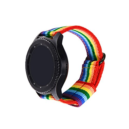 bandmax Samsung Gear S3 Armband, Regenbogen Nylon Gewebe Gurt Ersatzarmband Denimstoff Wrist Armband Uhrenarmband für Samsung Gear S3 Classic/Frontier