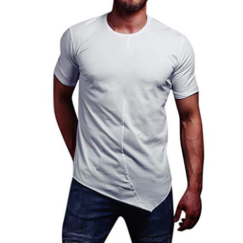 Xmiral Shirt Maglia Uomo Crew Neck T-Shirt Uomo T-Shirt Maglietta Uomo Uomo Original Maglia a Maniche Lunghe Maniche Lunghe Short M Bianca