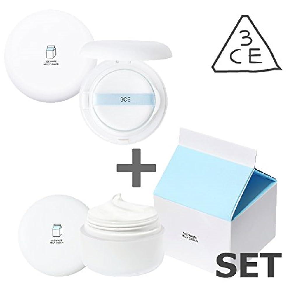 技術者定刻文化[3CE / 2個セット] ホワイトミルククリーム & ホワイトミルククッション (White Milk Cream+White Milk Cushion) / 正品?海外直送品