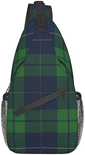 Bolso bandolera de moda adecuado para viajes diarios, deportes al aire libre, senderismo, azul, verde, cuadros escoceses, tela escocesa, bolsa cruzada de pecho viejo