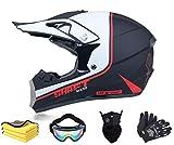 Casco de motocross, para adultos, con guantes, máscara, gafas integrales, casco de moto de cross, casco de protección, ATV (L)