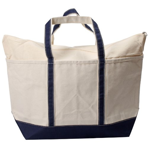 CB Station Canvas Boat Tote Bag with Zipper Large 14'H x 25'W Navy Blue