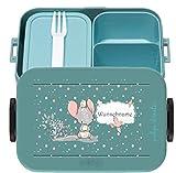 wolga-kreativ Brotdose Lunchbox Bento Box Kinder süßer Maus mit Namen Mepal Obsteinsatz für Mädchen Jungen personalisiert Brotbüchse Brotdosen Kindergarten Schule Schultüte füllen