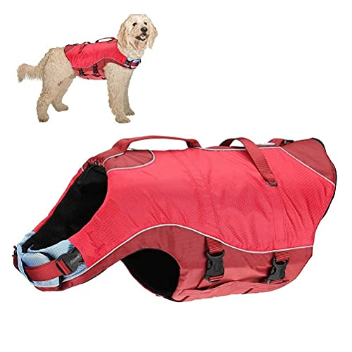 Kurgo K01138 Hunde Schwimmweste - Surf n' Turf - Regenmantel Hund - Reflektierende Schwimmweste für Hunde - Rot - Hunde Jacke - Erhältlich in XS, S, M, L und XL, 181 g