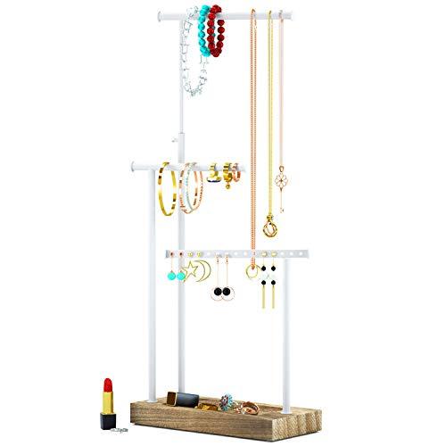 Jewelry Organizer Display Extra Tall Necklace Holder 3 Tier Jewelry Tree Stand (Carbonized Black)