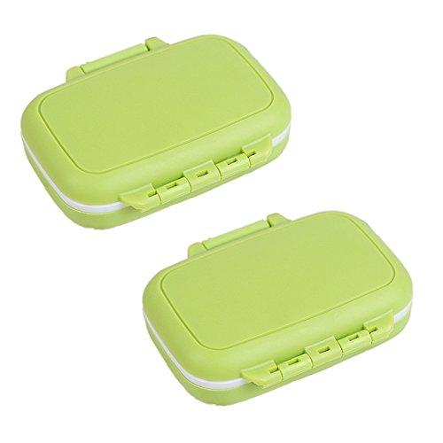 2PCS 3Fächern tragbar Kunststoff Pille Organizer Tägliche Wasserdicht Pillendose Tablettenbox Organizer Case Vitamin Box für den täglichen oder Reise mit, grün