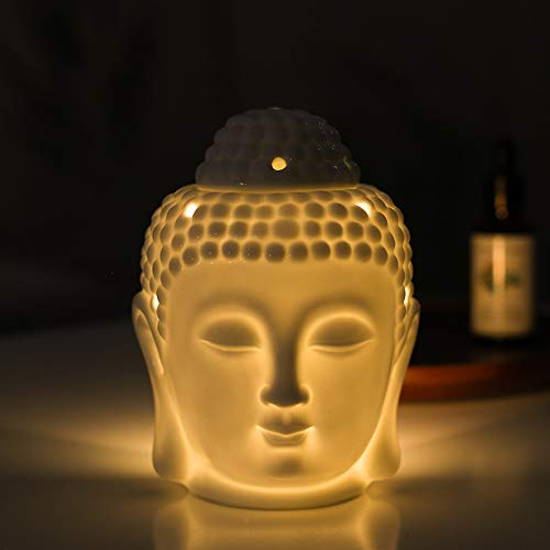 Ceramic Tealight Candle Holder Oil Burner, Home Decoration Ceramic Buddha Head Essential Aromatherapy Wax Melt Burners Oil Diffuser Tealight Candle Holders Buddha Ornament for Yoga Spa (White)