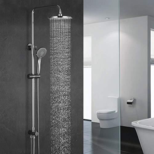 ubeegol Duschsystem Regendusche mit Wandhalterung ohne Armatur Wasserhahn Mischbatterie Duschsäule Duschset Brauseset mit Duschstange Überkopfbrause Handbrause