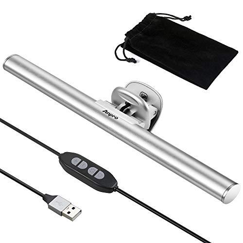 Anpro 26CM Lámpara Lectura Electrónica LED, Lámpara USB Escritorio, Lámpara de Computadora Portátil,3 Colores Regulables para el Hogar, Viajes, Oficina, Viajes de Negocios(plata)