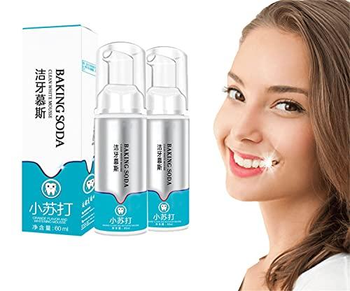 Brightify Pasta de dientes de espuma de limpieza profunda, Pasta de dientes blanqueadora de espuma en espuma para dientes sensibles, Bicarbonato de sodio Limpia la espuma blanca (2PCS)