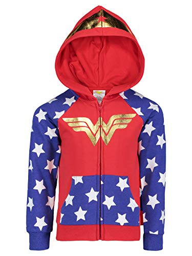 DC Comics (843596WNS) Wonder Woman Girls Fleece Hoodie with 3D Accents in Red, 4