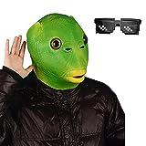 HUYIWEI 1PCS Tier Latex,Fisch Maske,Tierkopfmaske,Halloween Kostümmaske,Lustige Kopfbedeckung Adult Animal Cosplay Prop für Halloween/Karneval/Kostümpartys Umweltfreundlich und atmungsaktiv