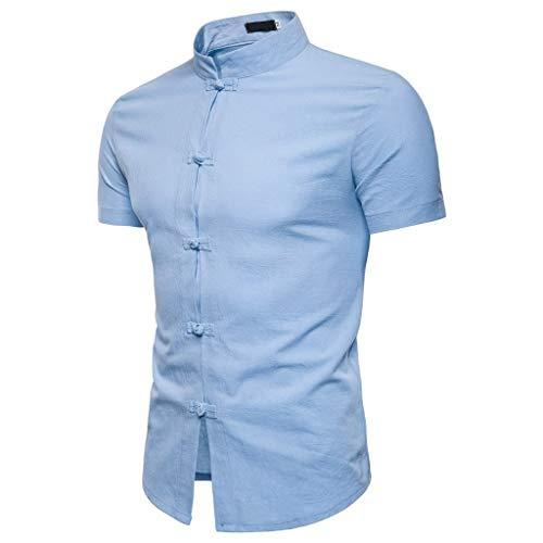 T-Shirts Herren Lässige Sommer chinesische Einfarbig Kurzarm Hemd Stehkragen T-Shirt Top Bluse Regular Slim fit Pullover Hellblau Shirt