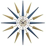 DIEFMJ Reloj de Pared Mudo Colorido Grande Multicolor de 22 Pulgadas - Reloj de Pared Retro Starburst - para Oficina en casa, Cocina