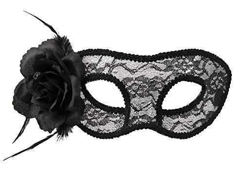 Boland- Maschera Occhi Mystique con Rosa per Adulti, Nero, Taglia Unica, 97528