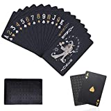 REAMOUS Cartas Poker Negro & Oro, Resistente al Agua Novedad Cartas de Poker Profesional, Diamante Negro Poker de Plástico Resistente al Agua, Resistentes a los desgarros