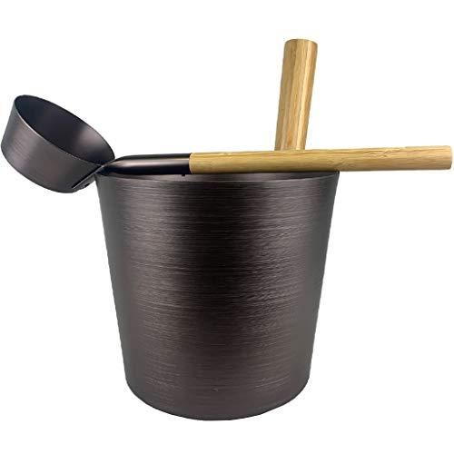 SudoreWell® Saunakübel Set teerbraun mit Saunakübel 5,0 l und Saunakelle mit Handgriffe aus Bambusholz