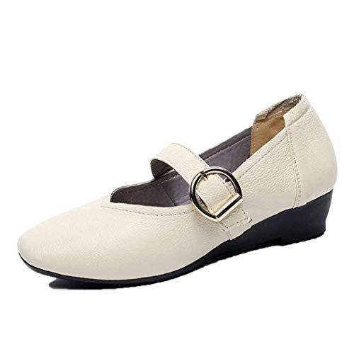 Frauen Keil Schuhe Mode Einfarbig Leder Schnalle Karree Beiläufige Einzelne Schuhe Weichen Boden Damen Mary Jane Schuhe