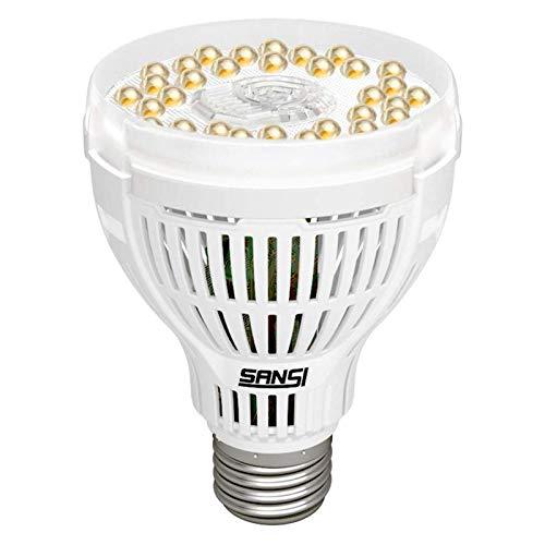 SANSI Lámpara de planta LED de 15W de espectro completo E27 Luz de planta blanca para plantas de interior Lámpara de crecimiento de luz LED para jardín, flores, verduras, frutas