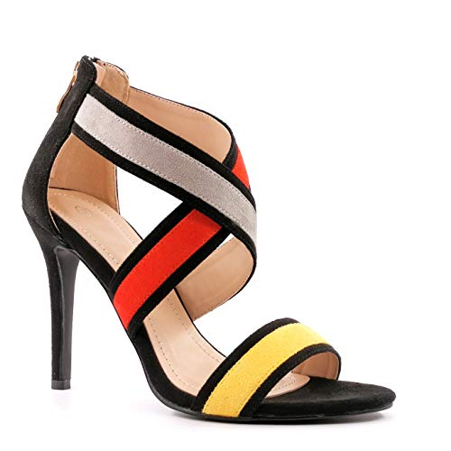 Angkorly - Modne damskie buty czółenka czółenka sandały - Glamour - fantazyjne/szykowne - eleganckie - skrzyżowane stringi - wielokolorowe - Szpilka na wysokim obcasie 11,5 cm, - ŻÓŁTY - 38 EU